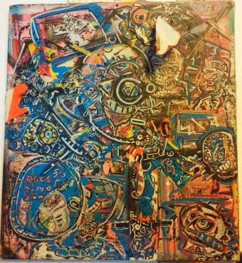 Ohne Titel - Privatbesitz. Akryl, Baustellenband, Lackstift auf Leinwand, 1984