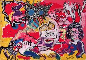 ArtCard, übermalte Postkarte, DIN-A6, 2007