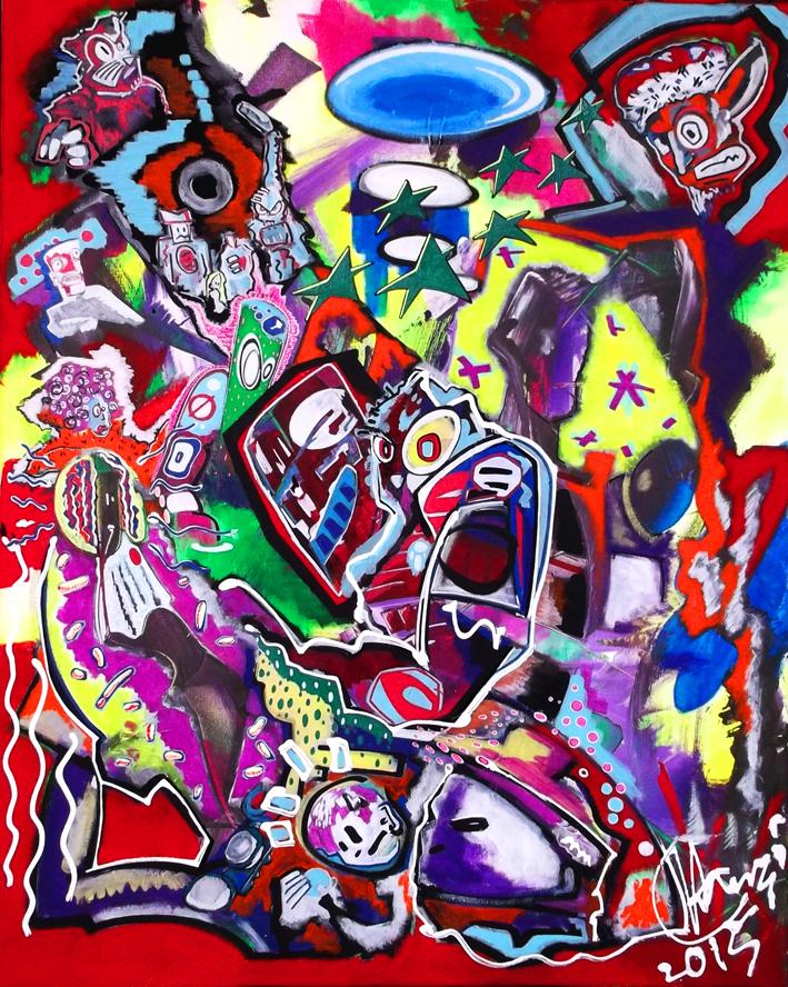 """""""Der DatenFriseur"""" - 80 x 100 cm, Akryl auf Leinwand, 2015"""
