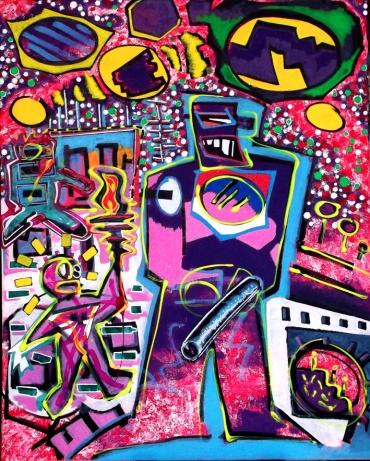 """""""Der Knüppel"""" - 79,5 x 100 cm, Akryl auf Leinwand, 2012"""
