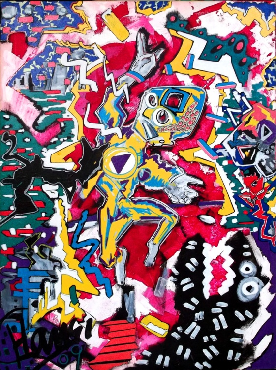 """Schlag aus dem Hinterhalt"" - 60 x 80 cm, Akryl auf Leinwand, 2009"